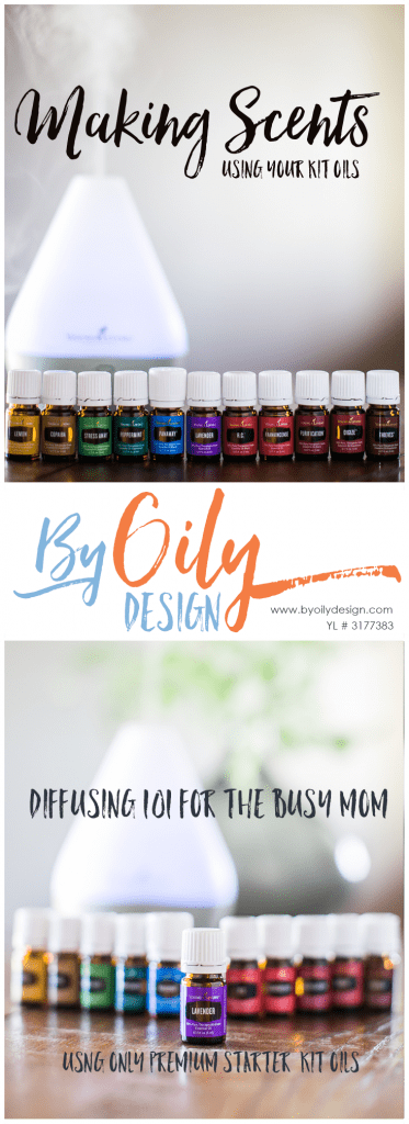 row of Essential oil bottles from the young living premium starter kit with a diffuser running in the background.