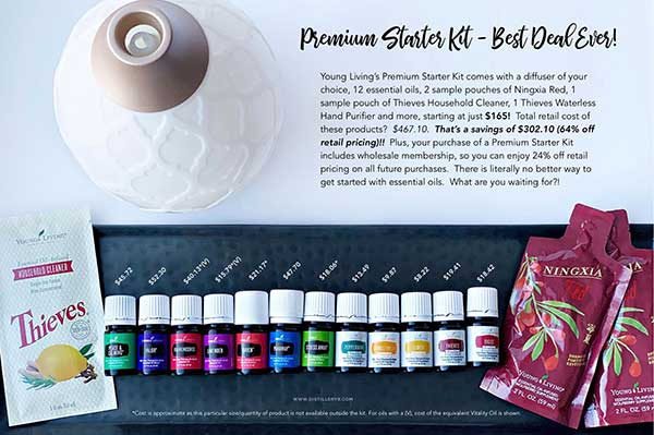 Showing a Description of the Young Living Premium starter kit with 12 oils and a diffuser.