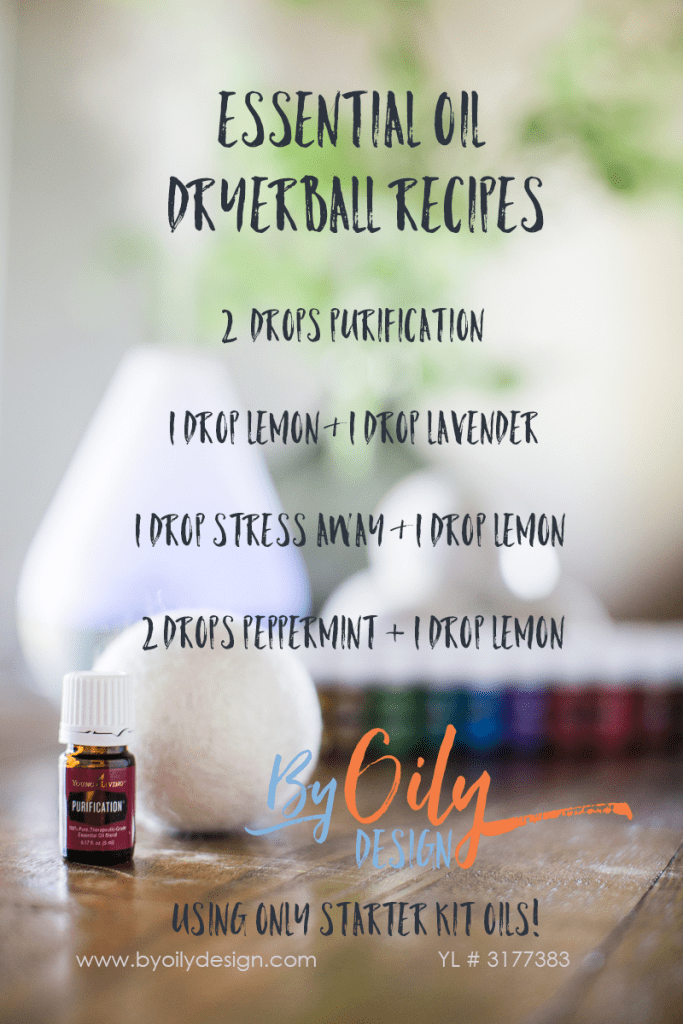 Saving money by using essential oils in your laundry. The wool balls make your clothes smell amazing and you can use kit oils for this! check out these 4 Wool Dryer Ball recipes to save money www.byoilydesign.com #thriftyhome #essentialoils #laundry