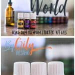Essential Oils, Lemon, LAvender and Frankincense on a wood table with dewdrop diffuser and glass dropper bottle and other premium starter kit oils