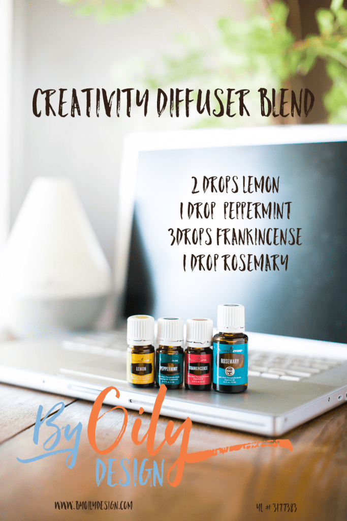 Using Essential Oils to spark creativity. Spark and Inspire Creativity with this diffusing blend using Peppermint, Lemon, Frankincense, rosemary. All Young living starter kit oils. byoilydesign.com YL member # 3177383