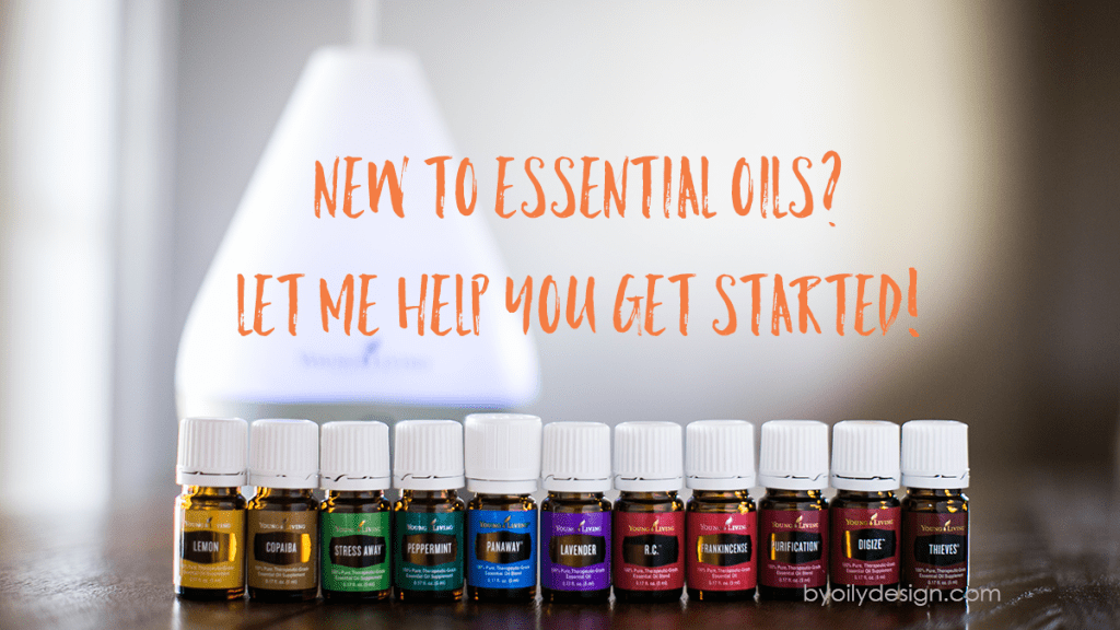 Essential Oil bottles in a row with a dewdrop diffuser. text overlay says- New to essential oils? Let me help you get started.