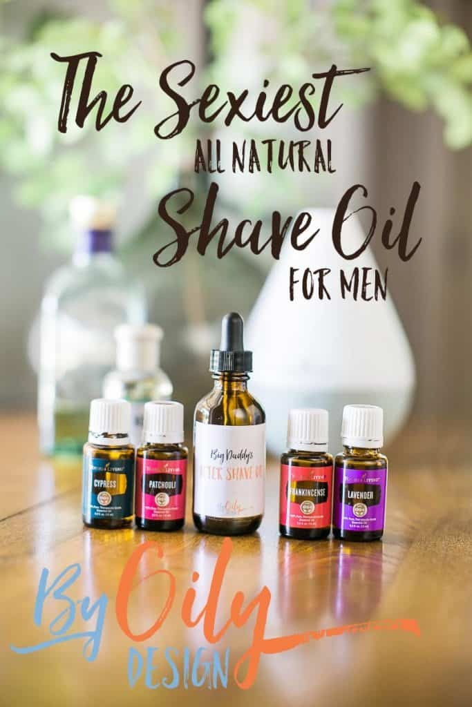 DIY All Natural Men's skin care. Recipe for a woodsy scented all natural shave oil for men's skin care. DIY Shave Oil made with Essential Oils. byoilydesign.com YL#3177383