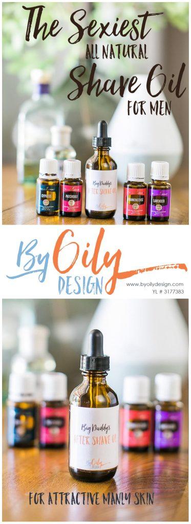 DIY All Natural Men's skin care. Recipe for a woodsy scented all natural shave oil for men's skin care. DIY Shave Oil made with Essential Oils. byoilydesign.com YL#3177383