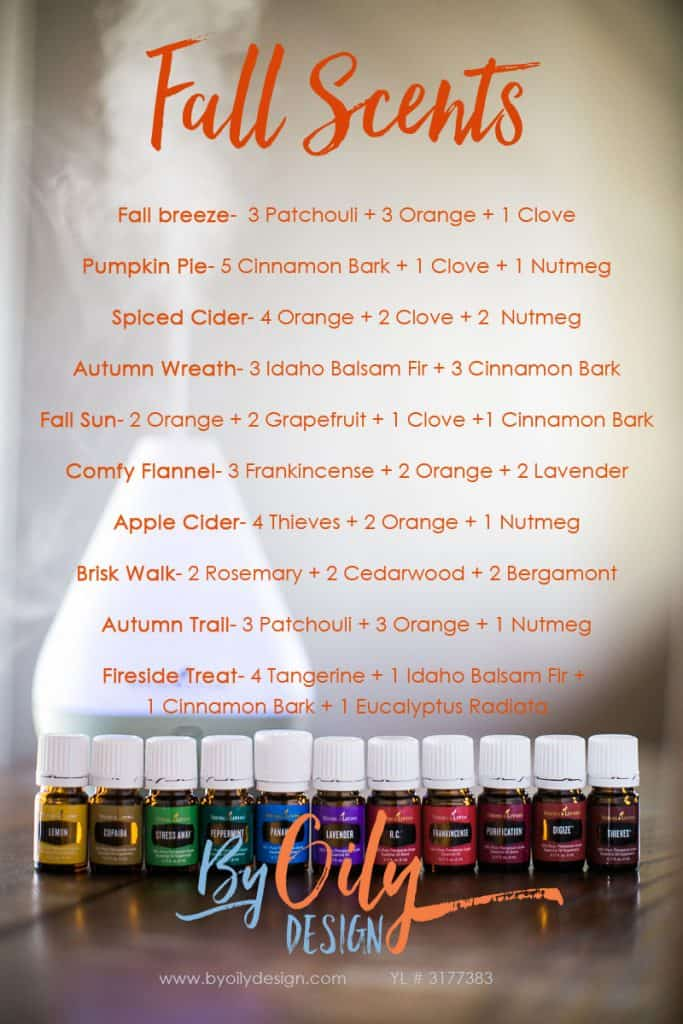 How to use Essential oils to create an amazing fall scent in your home. DIY essential oil blends for fall. Autumn diffuser blends to make your house smell good. Best home scents for fall. www.byoilydesign.com YL#3177383 #byoilydesign.com #fall #falldecor #fallscent #cozyhome