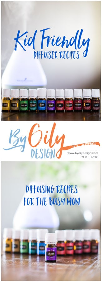 2 images of essential oil bottles in a row with a diffuser.