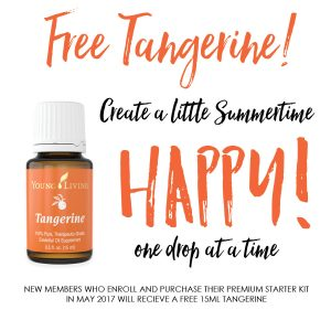 Get a free 15ml bottle of Tangerine when you enroll and buy a Premium Starter Kit in May 2017