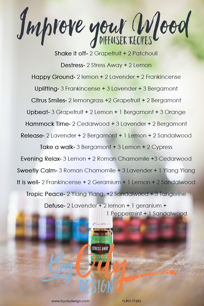 How to uplift and improve your mood using essential oils. 14 Essential Oil Diffuser recipes to uplift and destress your mood. Mood buster essential oils and diffuser recipes. Free PDF www.byoilydesign YL# 3177383