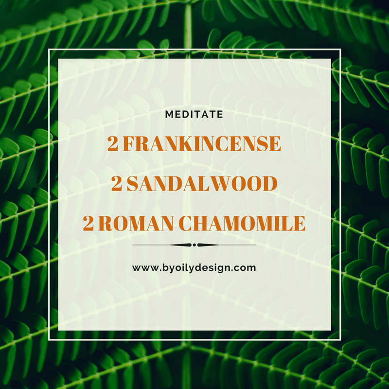 Frankincense DIffuser Blends in text laid over green leaves