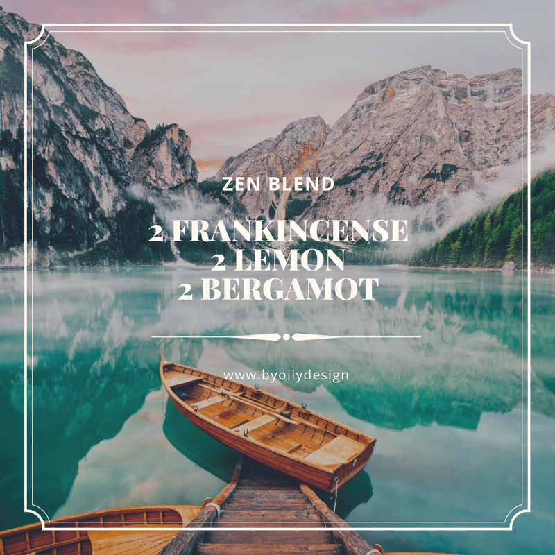 frankincense diffuser blend recipe in text over blue lake, mountains and canoe