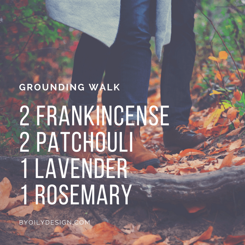 couple walking in fall gear over leaf covered path with Text overlay of diffuser blend