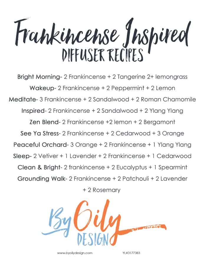 list of 10 diffuser recipes using Frankincense
