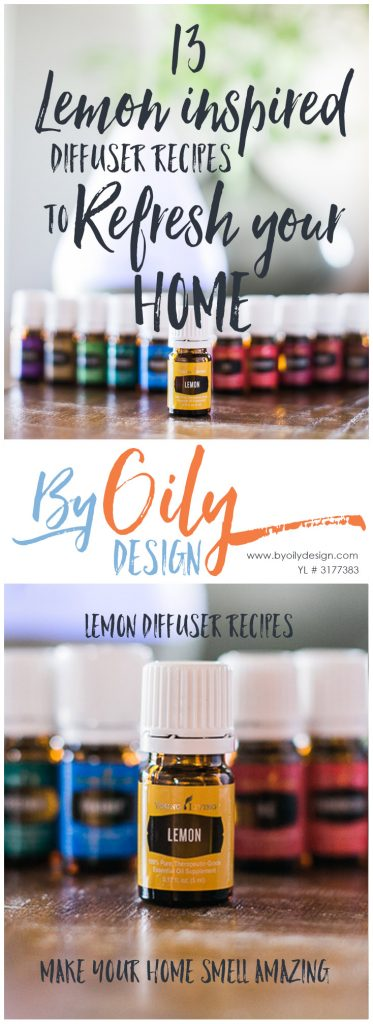 Lemon Essential Oil Benefits, 13 Lemon inspired Essential Oil diffuser recipes to freshen your home. byoilydesign.com Young Living # 3177383