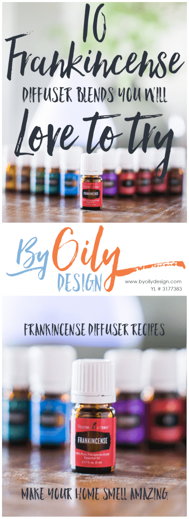 Frankincense bottle in front of premium starter kit oils and diffuser