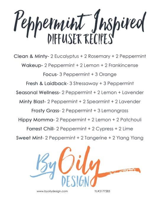 Diffusing Peppermint. 10 Peppermint diffuser blends you will love to try. Enjoy the benefits of Peppermint essential oil by diffusing these 10 amazing diffuser blends. byoilydesign.com YL member # 3177383