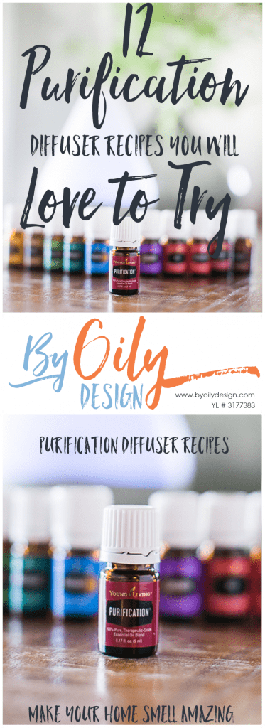 2 images of a Bottle of purification in front of a row of premium starter kit oils and diffuser.