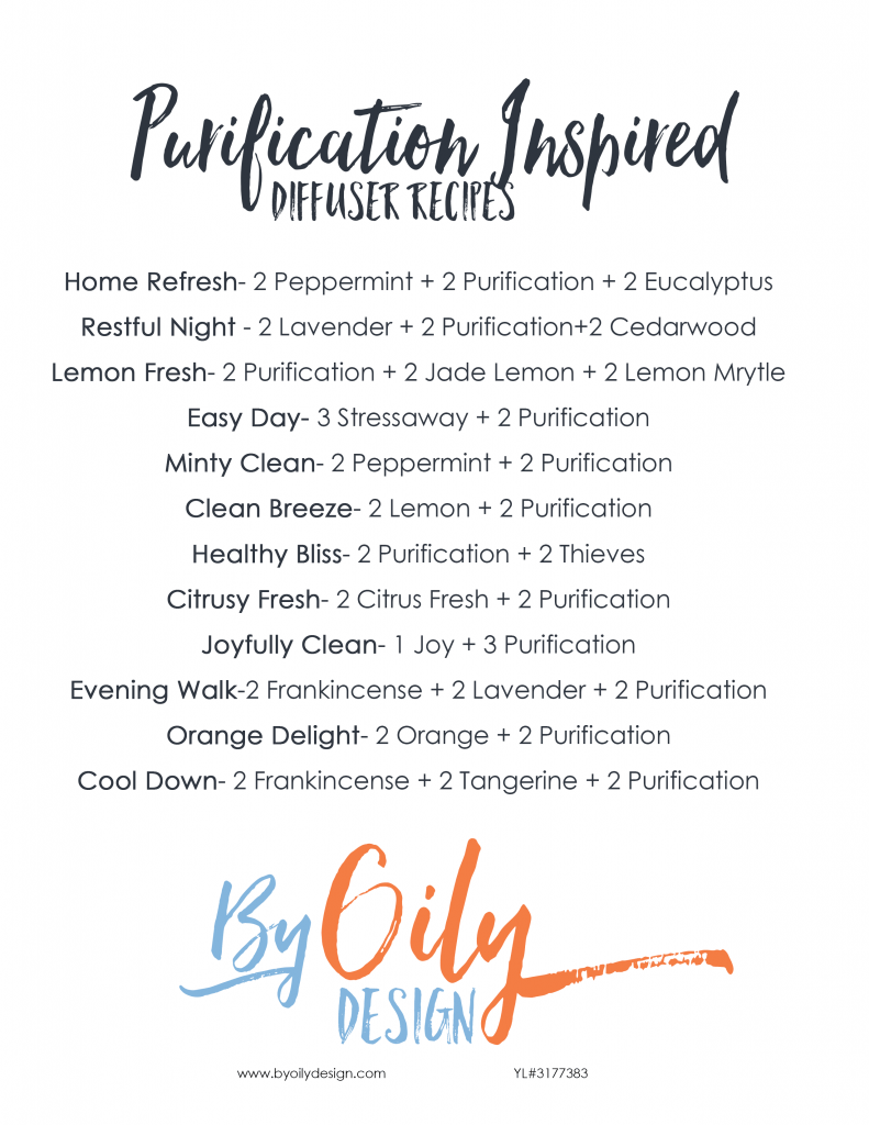 list of purification diffuser recipes on white background