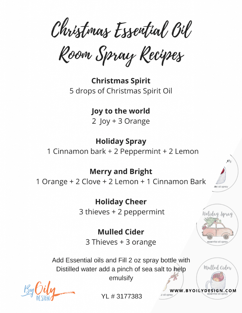 Christmas Essential Oil Room spray recipe text on a white background with a few circles showing Christmas theme labels.