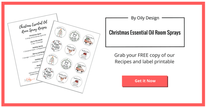 Image showing the free printables for Christmas room spray labels and room spray recipes.
