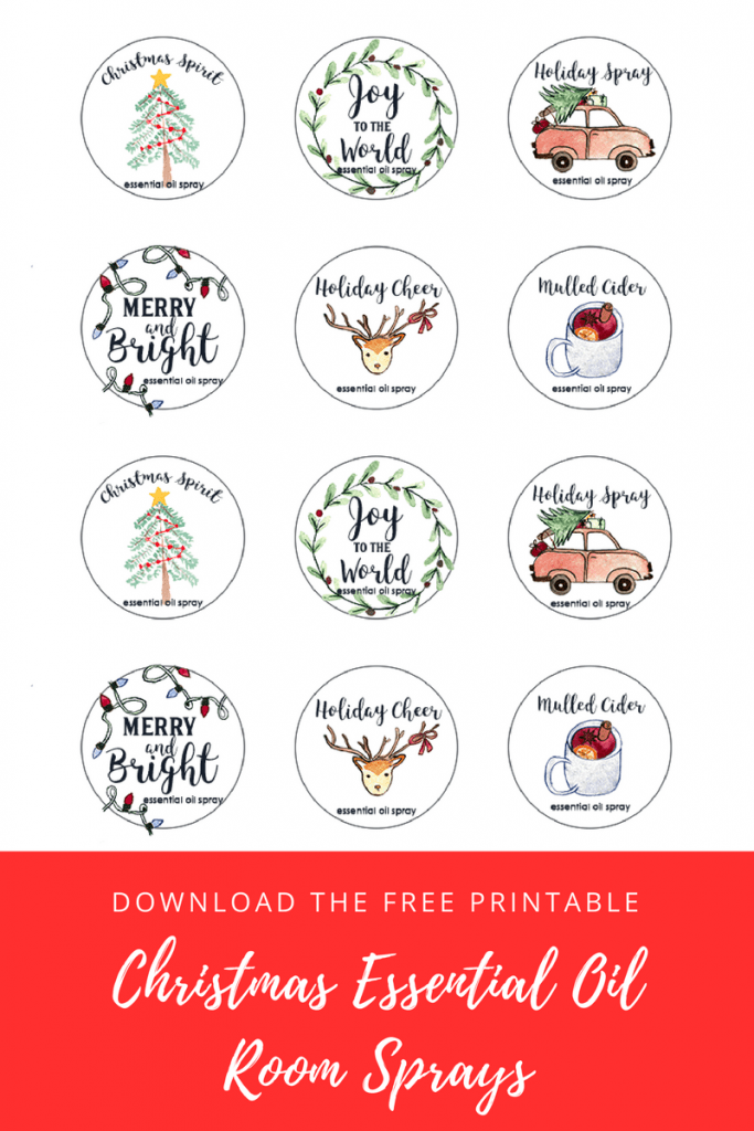 12 labels showing Christmas scenes for essential oil room sprays.