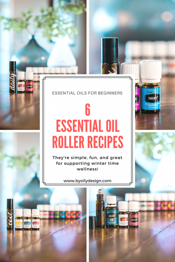 4 image collage with essential oil bottles and rollers. text overlay in red,  6 Essential Oil roller bottle recipes