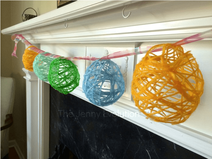 Easter Egg Garland made with string