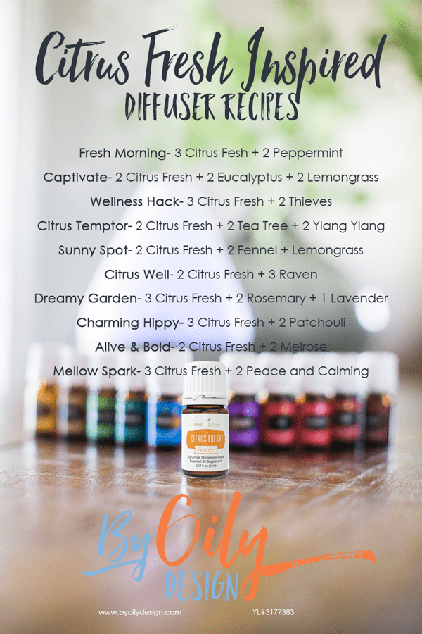 Bottle of Citrus Fresh Essential oil with other premium starter kit oils and a diffuser.