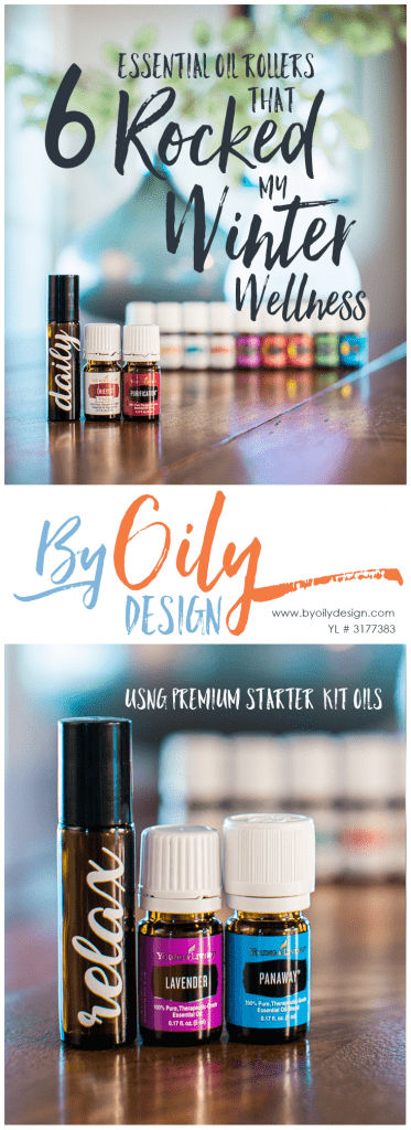 Young Living Essential Oils with a metal top roller bottle. Text says 6 Essential oil rollers that rocked my winter wellness. Byoilydesign.com