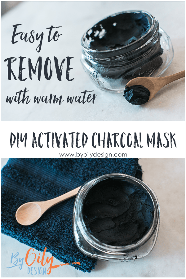 Glass jar with Charcoal mask, blue towel and wooden spoon.