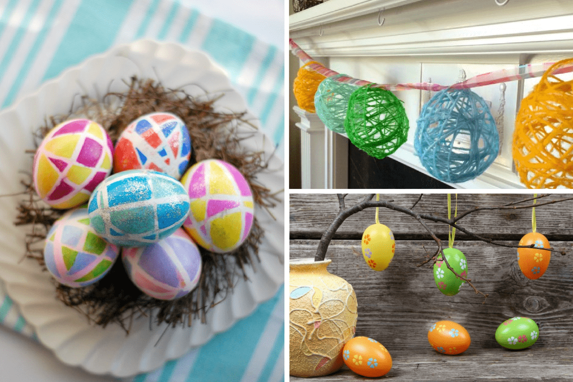 3 images of different Easter Egg crafts
