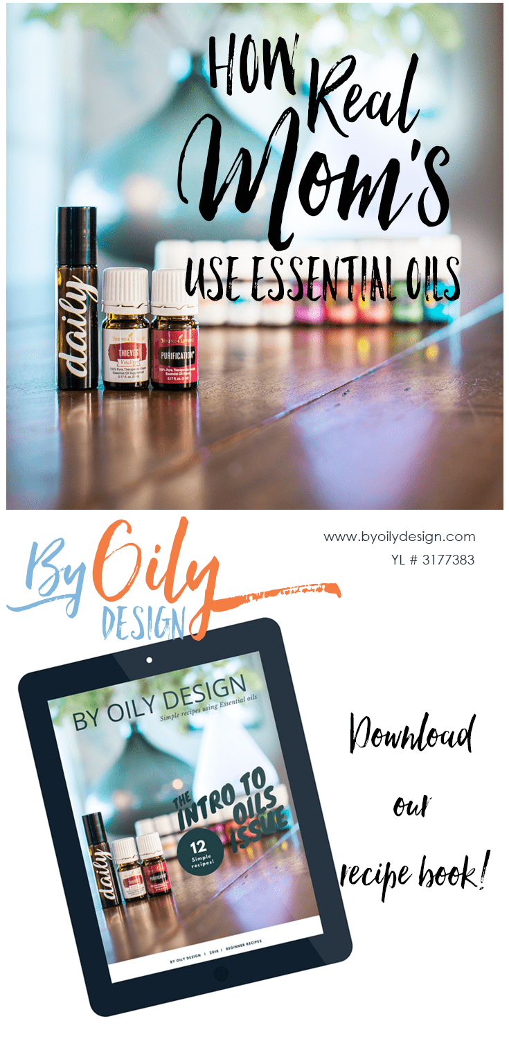 essential oils on a table and ipad showing essential oil recipe book