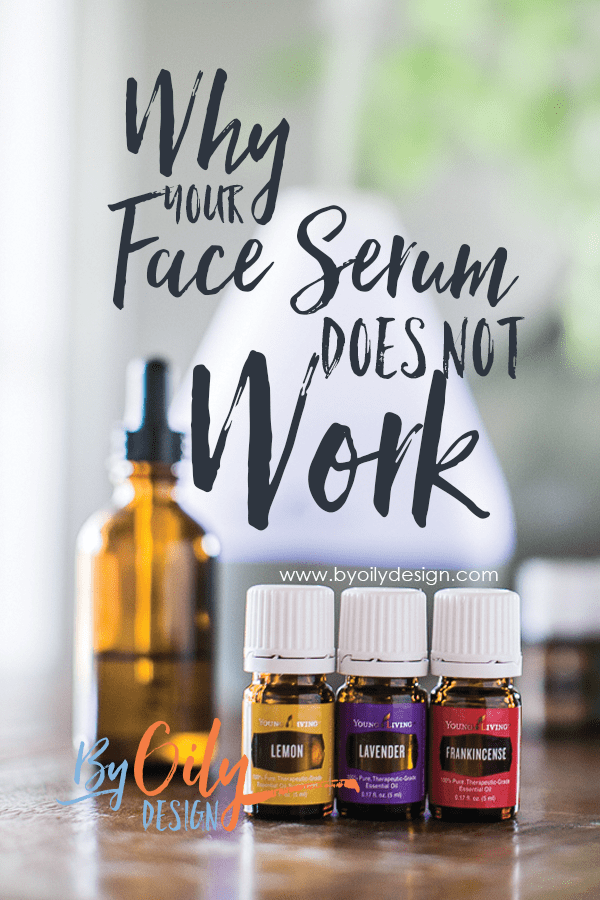 three essential oil bottles, essential oil diffuser and an amber dropper bottle with face serum inside.