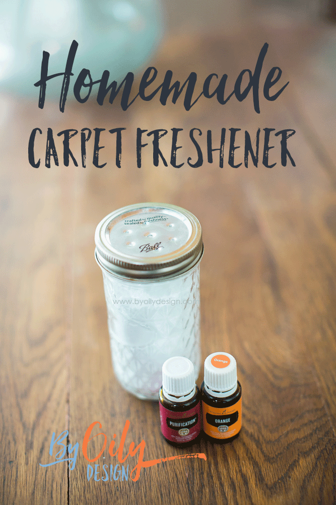 Homemade Carpet Freshener in a mason jar with essential oils