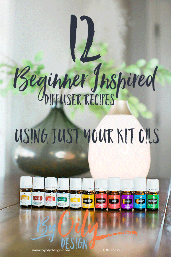 diffusing essential oils recipes with diffuser and essential oil bottles on a wood table
