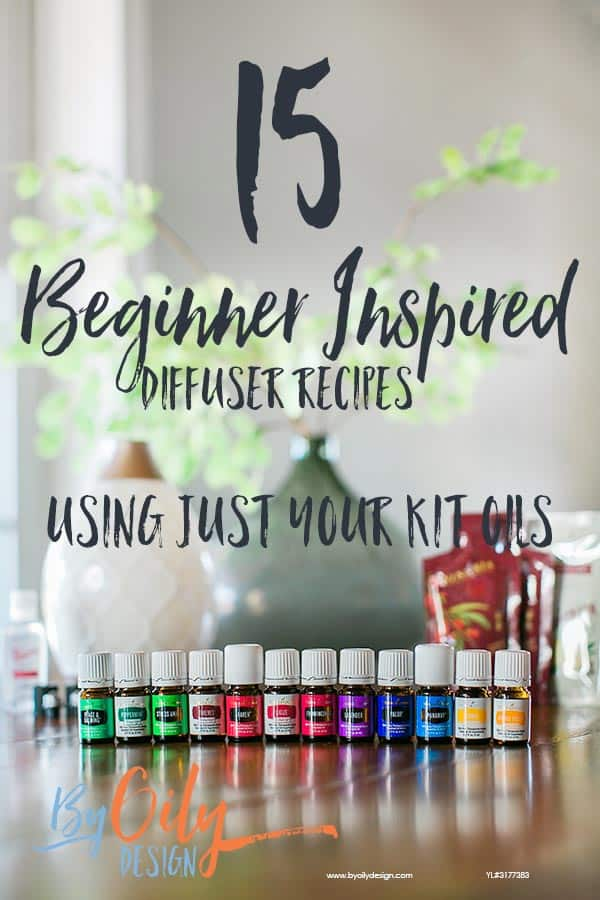 Young Livings premium starter kit diffusing essential oils recipes with diffuser and essential oil bottles on a wood table