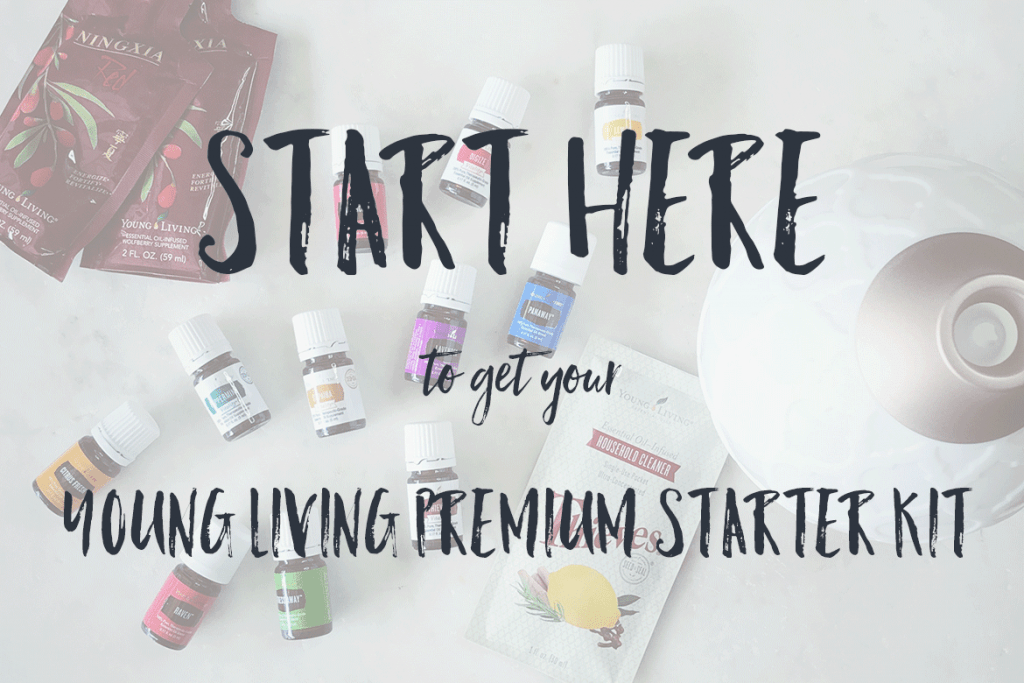 young living premium starter kit layout on a white background