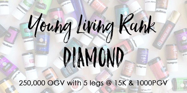 Young Living Rank of Diamond 250,000 OGV with 5- 15K legs + 1000PGV.