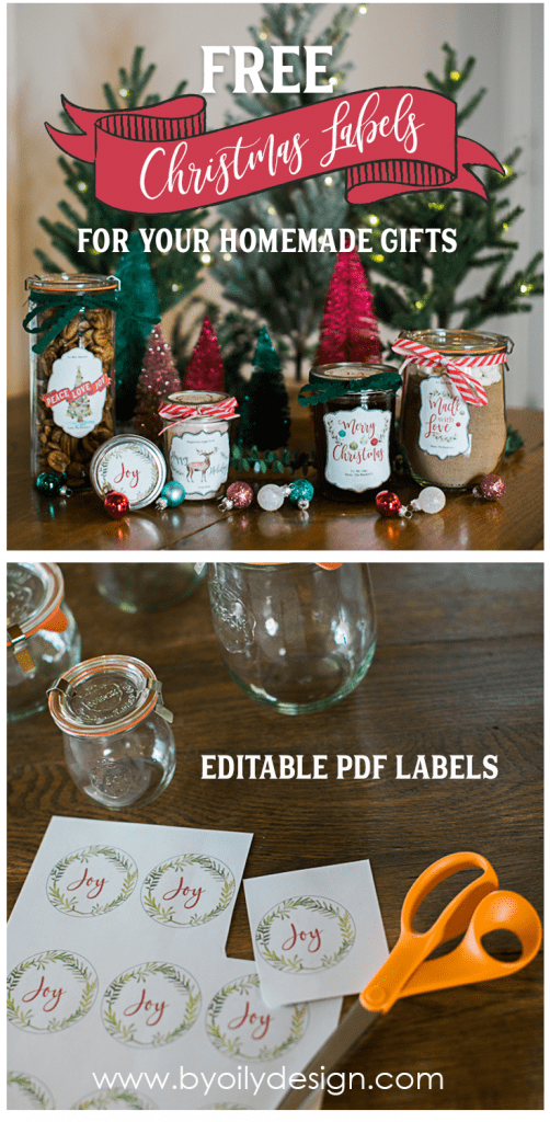 Two images with gifts made with essential oils showing of free Christmas Printable Labels