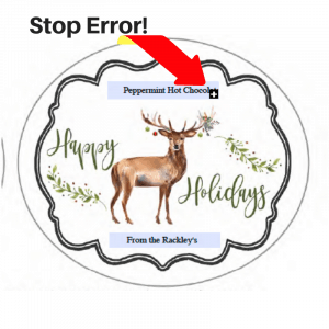 Christmas label error message