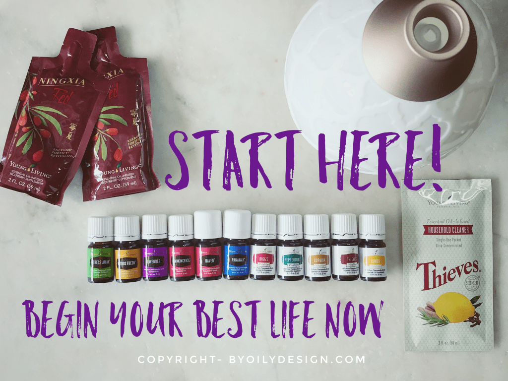 Image of the Young living Starter Bundle. The Starter Bundle has each piece laid out so you can see what is in the Bundle.