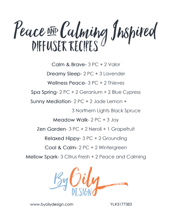 list of diffuser recipes using peace and calming