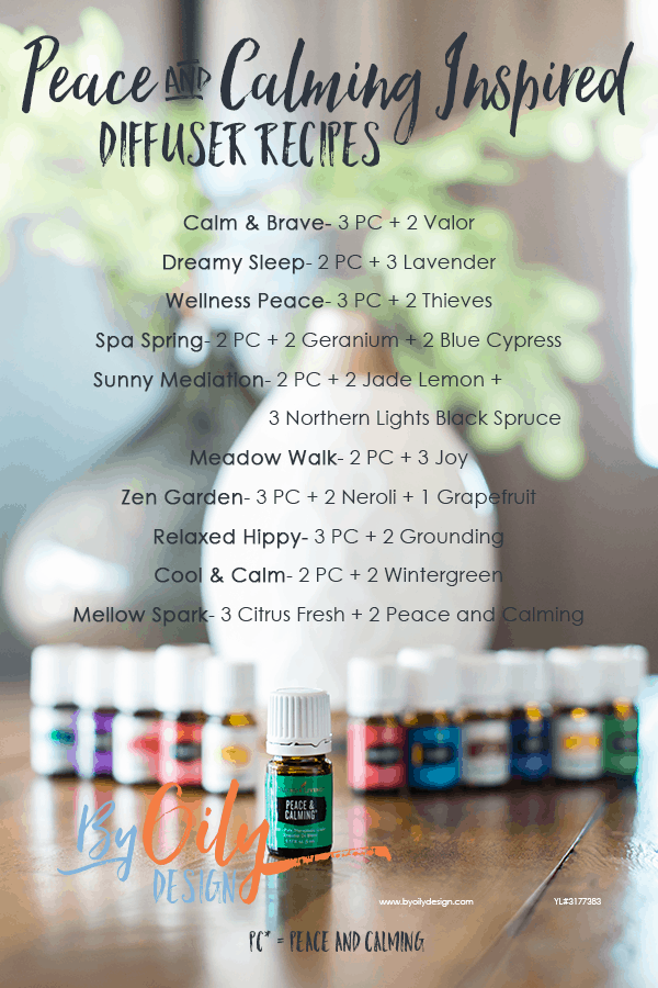 bottle of peace and calming essential oil with 11 other young living essential oils and a desert mist diffuser behind the oils. All are on a wooden table by a window with a plant. text over lay is a list of diffuser recipes using peace and calming