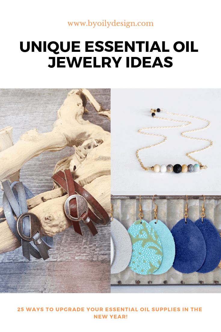 essential oil diffuser necklace with lava bead, teardrop leather diffuser earrings and leather diffuser bracelets