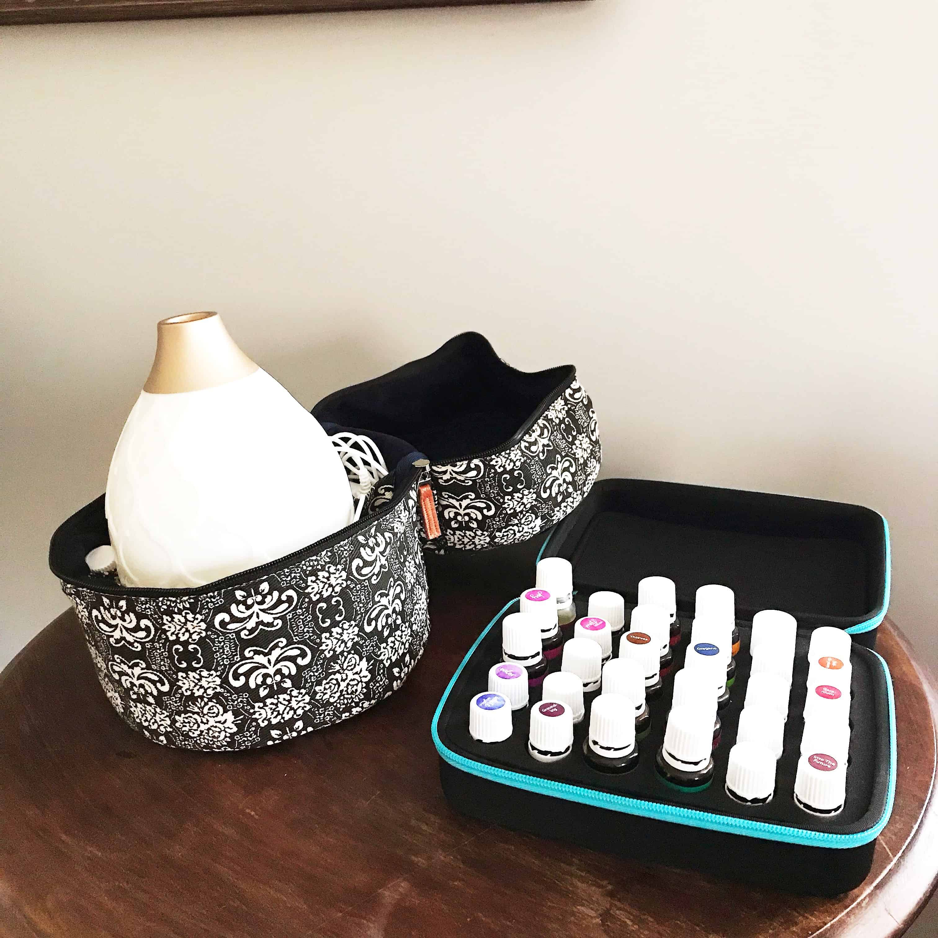 Essential oil diffuser case and oil case that are perfect for travel.