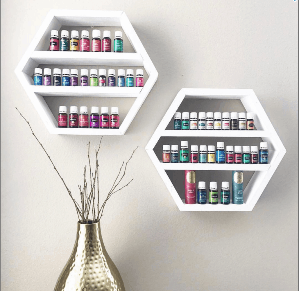 White hexagon essential oil shelf to hold 5ml, 10ml and 15ml bottles