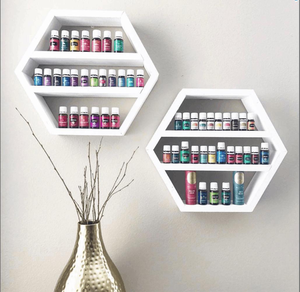 White hexagon essential oil shelf to hold 5ml, 10ml and 15ml bottles