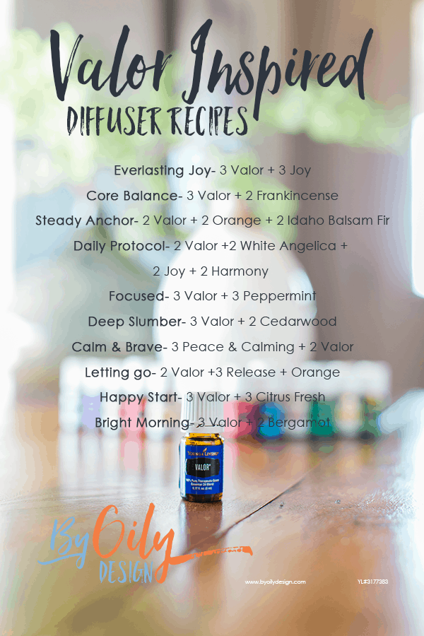 bottle of Valor essential oil with 11 other young living essential oils and a desert mist diffuser behind the oils. All are are apart of the premium starter kit and are on a wooden table by a window with a plant. text over lay is a list of diffuser recipes using Valor essential oil