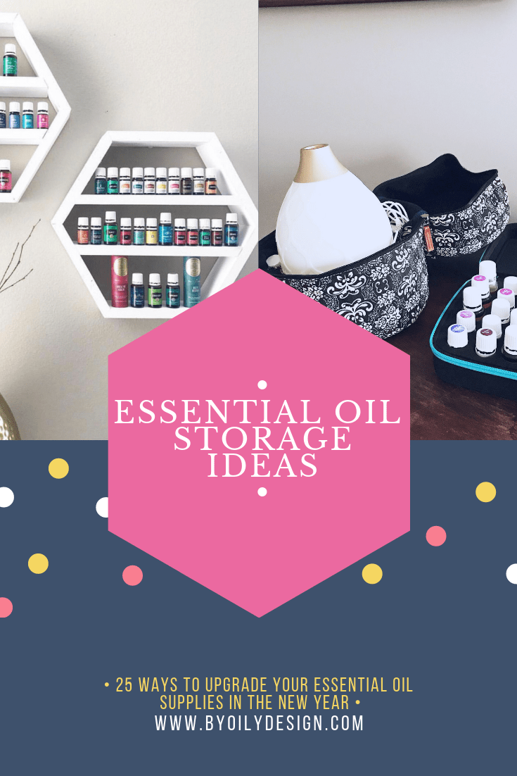 two images of essential oil shelfs and essential oil cases for travel