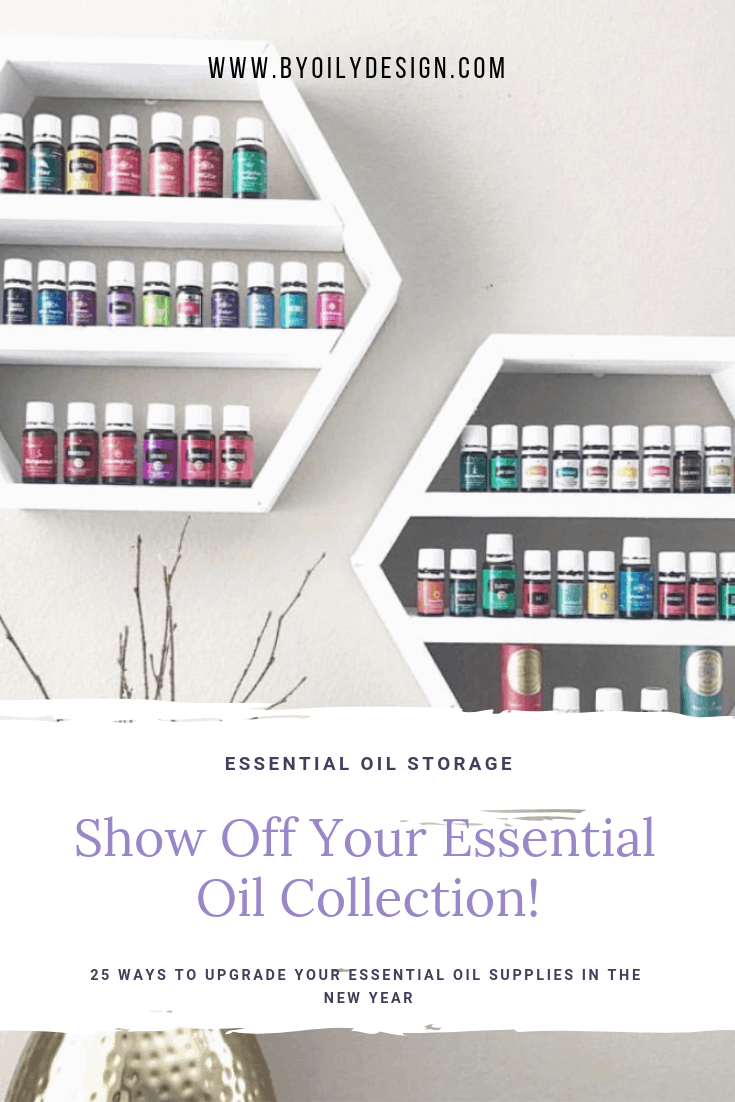 a set of white essential oil hexagon shelves holding Young Living Oils