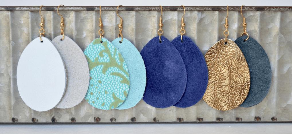 feather light, leather teardrop earrings in bold colors